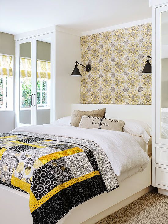 Cool Beds For Small Rooms With Limited Storage: Accent Wallpaper, Unique Headboards And Storage On Pinterest