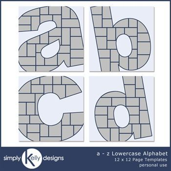 a - z Lowercase Alphabet 12x12 Page Templates