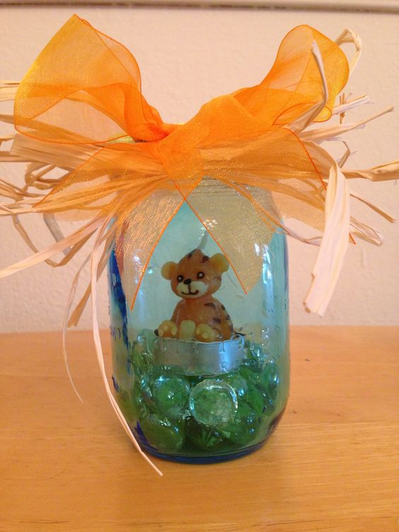 Mason jar centerpieces jars and baby shower blue on pinterest