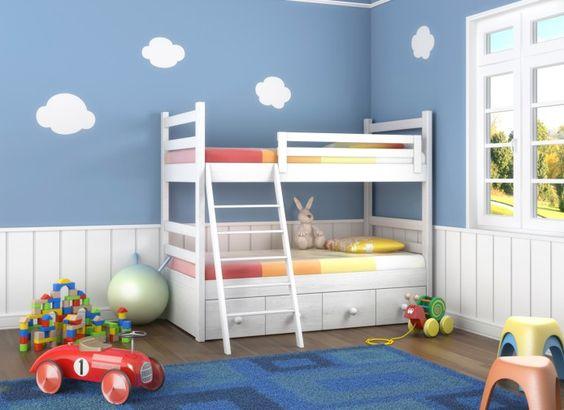 Das zweite Bild der Kinder blaue und weiße Schlafzimmer mit weißen Etagenbett (blauer Teppich in diesem Bild)
