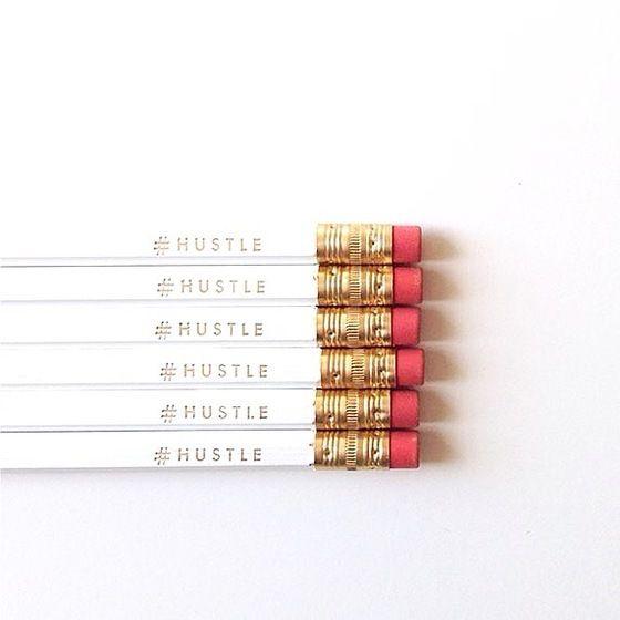 Image of #HUSTLE White & Gold Pencil Set