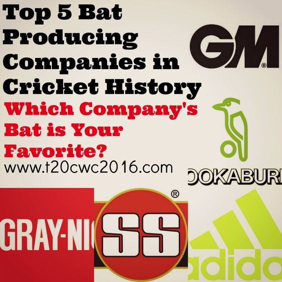 Top 5 Bat Producing Companies in Cricket History ICC's Bat producing companies in the world, Cricket Bat company names, best cricket bat producing company 2016