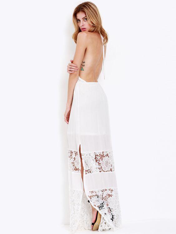 White Halter Backless Crochet Lace Maxi Dress