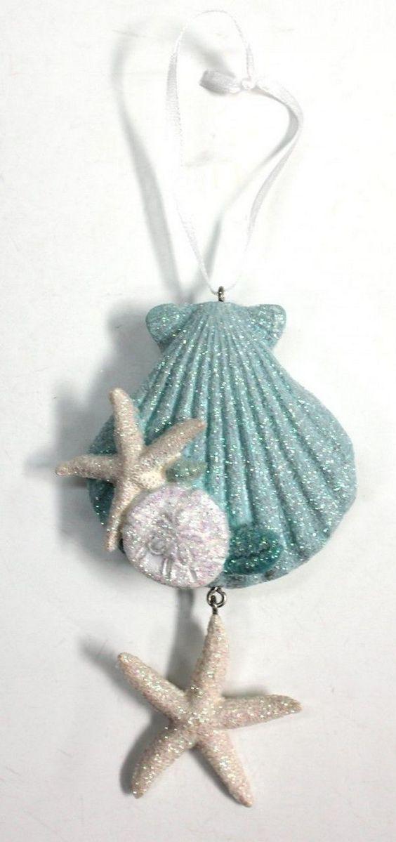 Glittered resin seashell ornament coastal christmas for Seashell ornaments diy