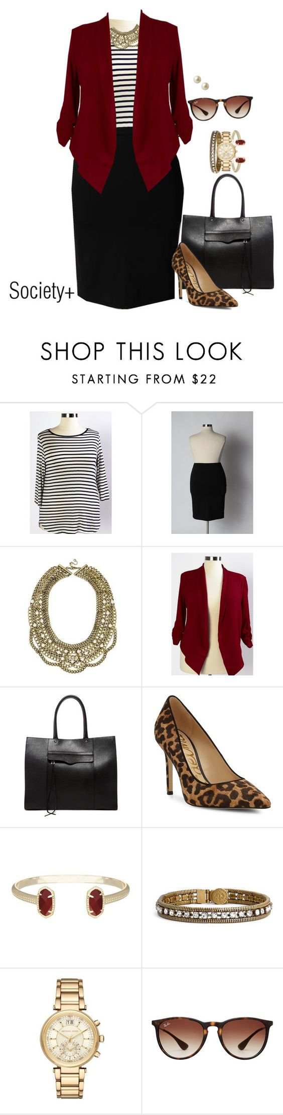 """Plus Size Work Blazer - Society+"" by iamsocietyplus on Polyvore featuring BaubleBar, Rebecca Minkoff, Sam Edelman, Kendra Scott, Loren Hope, Michael Kors, Ray-Ban, Carolee, WorkWear and plussize"