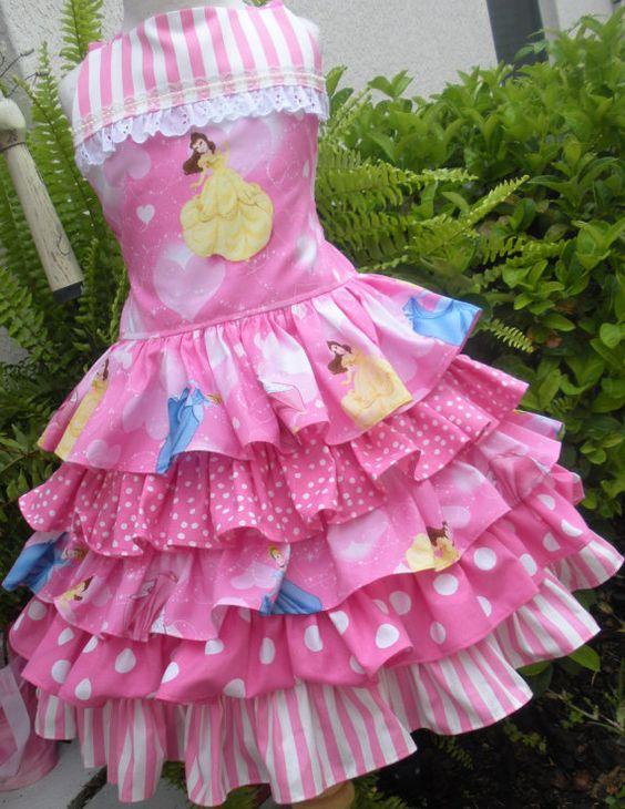 Custom Boutique Disney Princess 5 Ruffle Dress Girl 2 3 4 5 6 7 8 Pink on Etsy, $84.00