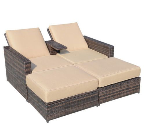 details about outdoor 3pc rattan wicker furniture set patio sofa loveseat chair chaise lounge. Black Bedroom Furniture Sets. Home Design Ideas