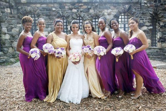 A Sophisticated Wedding Infused with Haitian Culture in New Rochelle, NY - Munaluchi Bridal Magazine #purpleandgold #bridesmaid