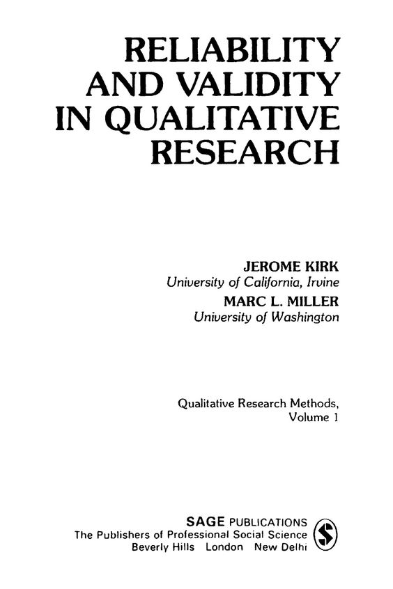 Dissertation reliability and validity