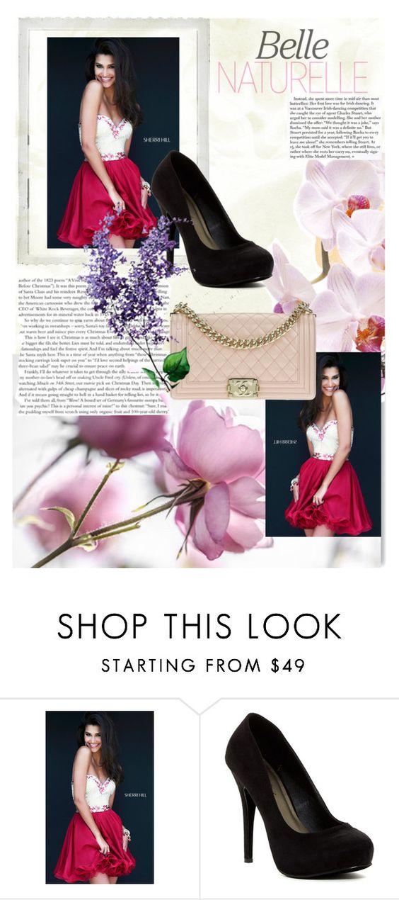 """Ruby Sherri Hill 1929 Chiffon Short Homecoming Dress"" by lorengeorge ❤ liked on Polyvore featuring Sherri Hill, Michael Antonio, Chanel, Polaroid, dress and Homecoming"