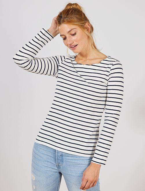 T shirt marinière avec col cranté   Chemisier tendance