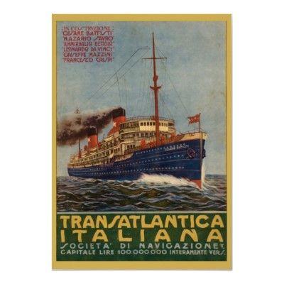 Poster de viagens do vintage, Transatlantica Itali por yesterdaysgirl