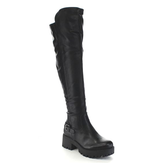 DE BLOSSOM COLLECTION WILLY-1 Women's Buckle Strap Lug Sole Over Knee High Boots * Learn more by visiting the image link.