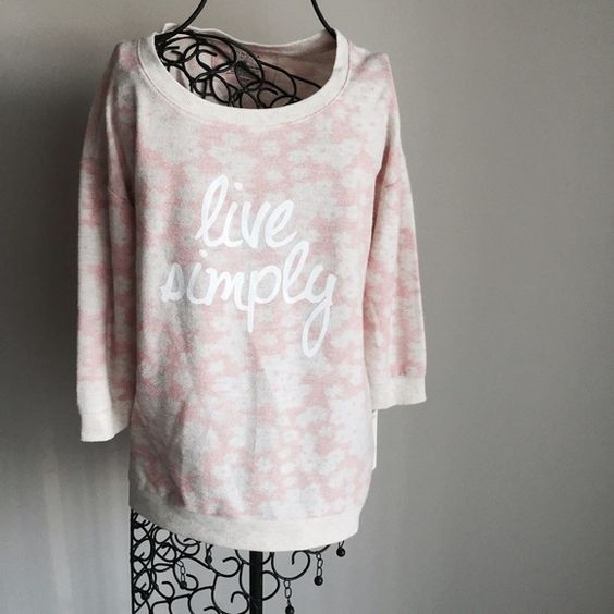 """hpgraphic 3/4 sleeve sweater. Great blush color with graphic """"live simply"""". Very cute! New with tags. Soft material. ❌No trades or PayPal❌ Quick shipping offers welcome through """"Make an Offer"""" feature. Bundle discount on 2+ items using new bundle feature. Sonoma Tops"""