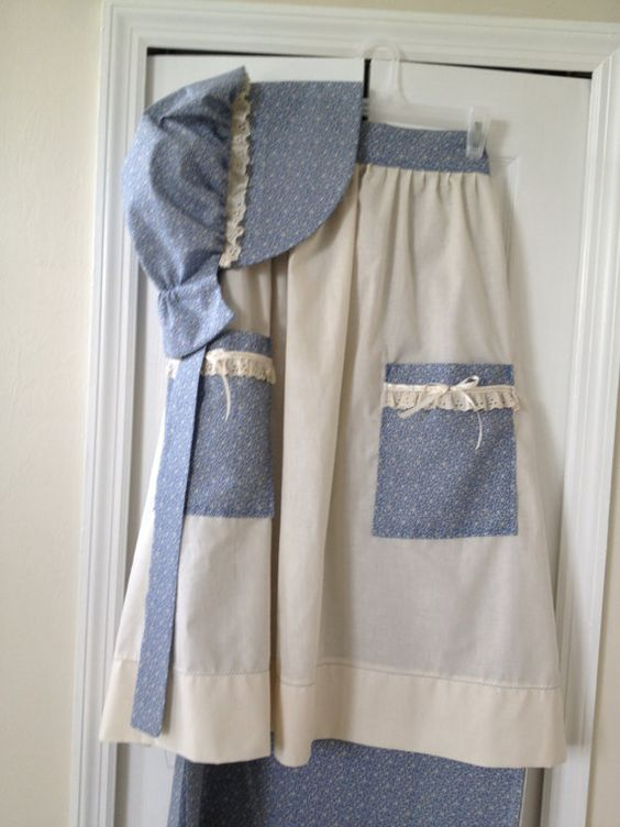 Mormon Pioneer Dress Skirt Bonnet Apron and Pantaloons Made To Order