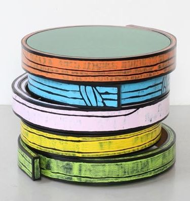 Richard Woods and Sebastian Wrong; Lacquered Bentwood and Colored Glass Occasional Table for Wrong Shop, 2012.