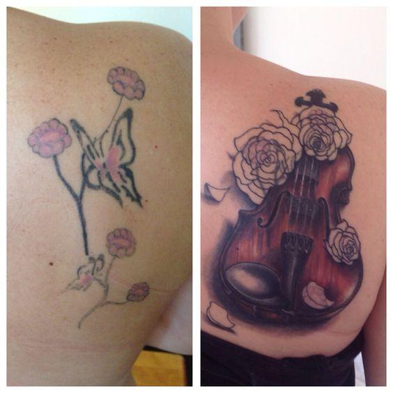 Violin Tattoo Coverup