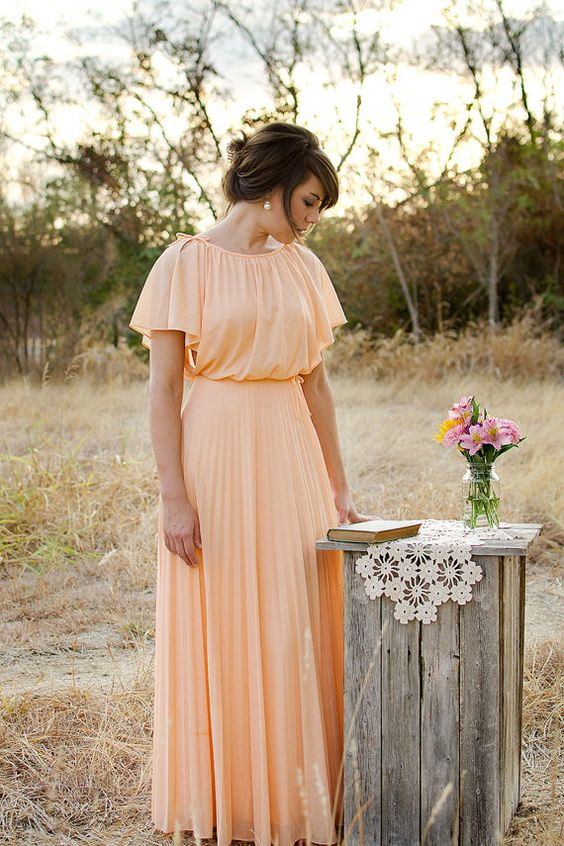 Vintage 1970s Dress Peach Gown Neiman Marcus by LadyMonette, $165.00