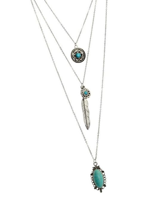 Three Layer Chain with Turquoise Pendants