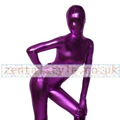 Full Body Dark Purple Shiny Metallic Back Zipper Unisex Zentai Suit [TWL111226102] - £30.99 : Zentai, Sexy Lingerie, Zentai Suit, Chemise
