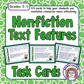 Use these 24 Nonfiction Text Feature Task Cards as a supplemental activity to increase your students' understanding and to help them to use nonfiction (informational text) resources more effectively.
