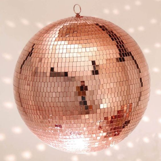 20 Rose Gold Disco Mirror Ball Large Disco Ball With Hanging Swivel Ring In 2020 Decorating With Christmas Lights Mirror Ball Vase With Lights