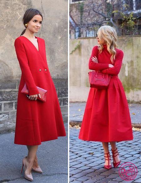 Красное платье миди с чем носить
