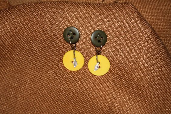 check them out here:  http://www.etsy.com/listing/85160867/army-green-yellow-button-earrings-free