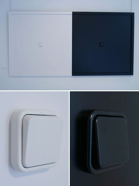 Un cuadro dividido en dos: una mitad blanca y la otra mitad negra. En cada una de las mitades hay un interruptor.