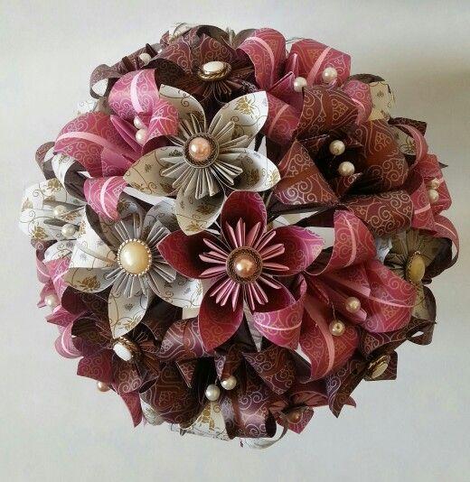 vintage wedding theme paper origami flowers bouquet