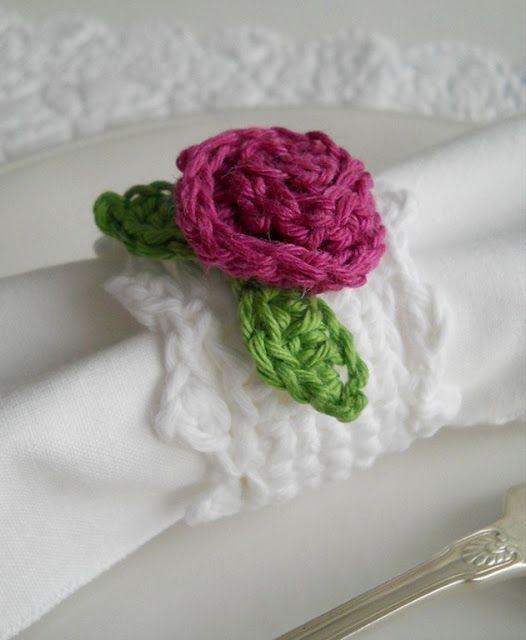 flor de crochê porta guardanapo