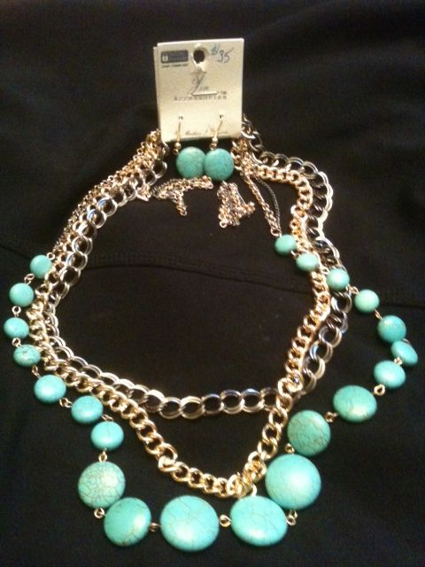 Turquoise and Mixed Metal Necklace and Earring Set $35
