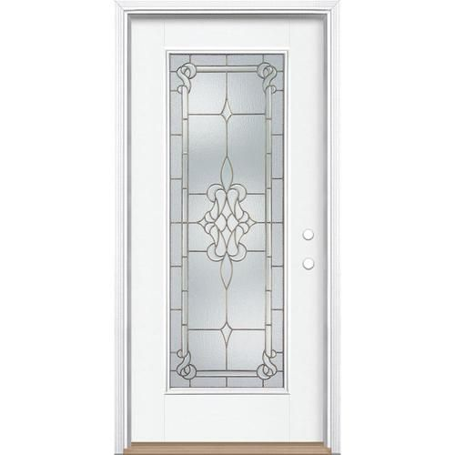Masonite Stately Full Lite Decorative Glass Left Hand Inswing Modern White Painted Fiberglass Prehung Entry Door With Insulating Co Entry Doors Decor Glass