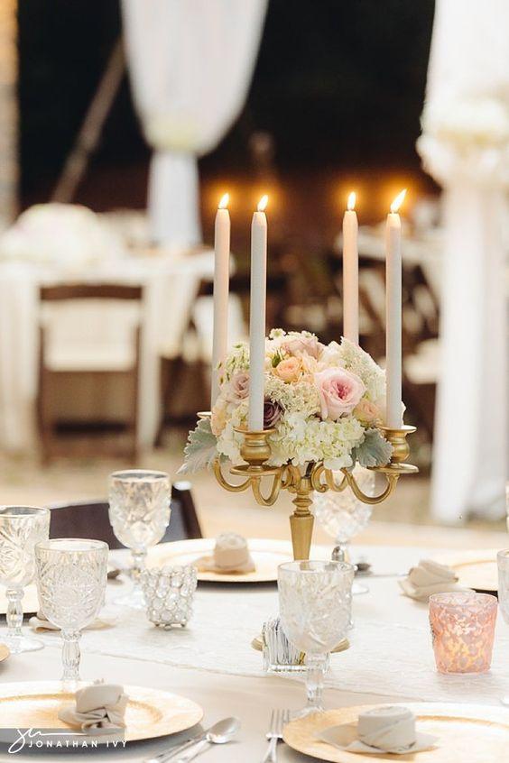 Outdoor wedding candelabra photo by jonathanivyphoto