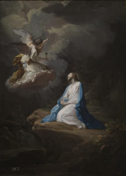 """And to strengthen him an angel from heaven appeared to him."" _ Luke 22:43 // The Agony in the Garden / La Oración en el Huerto // Ca. 1754 // Corrado Giaquinto // #Jesus #Christ #HolyWeek #angel #prayer #MountofOlives"