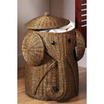 Rattan Elephant Hamper- would look so cute in Ella's room with all her Safari stuff!