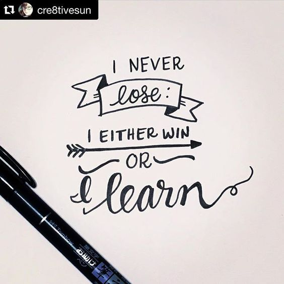 Great quote as we think about our week ahead.  #bujopros  #Repost @cre8tivesun with @repostapp. ・・・ The next prompt for @jennyhighsmith #letteritmarch - a good lesson for sure! Trying to make every mistake as a learning opportunity! #tombowfudenosuke #bujo #bulletjournaljunkies #bulletjournal #handlettering #lettering #rockyourhandwriting