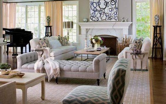 "Little Green Notebook: Tips for Decorating a Really Large Living Room.  ""day bed"" in middle to join up two seating areas"