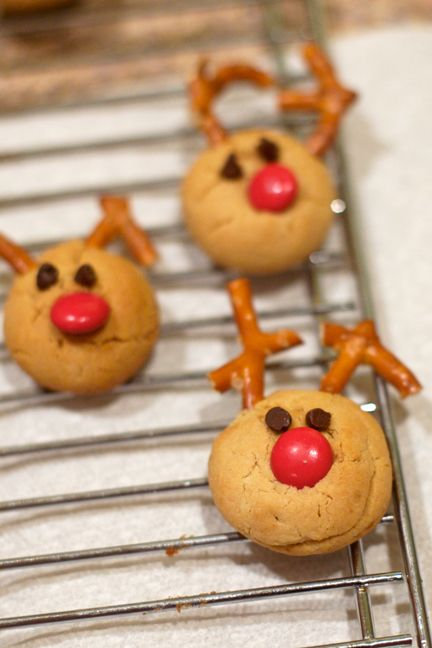 Rudolph! Made these last year and the kids loved them. Just use your favorite peanut butter cookie mix.