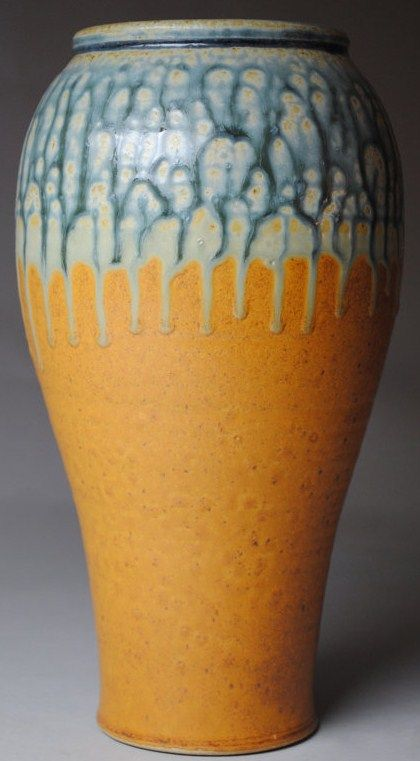 Johnmccoypottery Clay Vase Blue Ash And Orange Pottery And Works