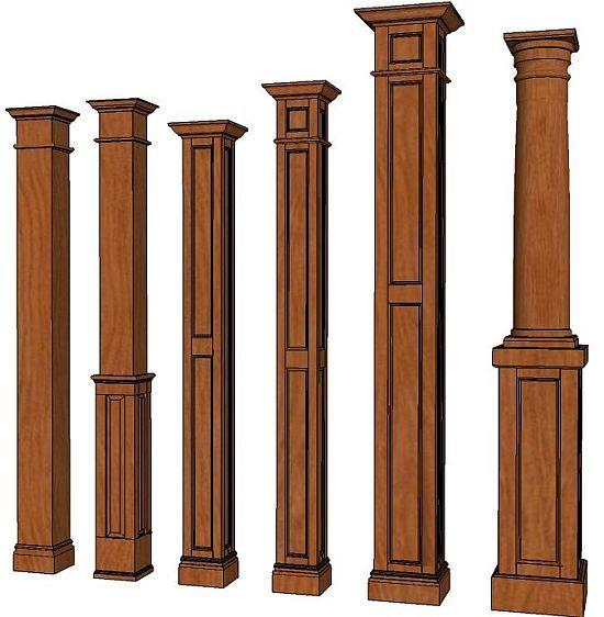 Indoor Column Styles : Square columns interior wood decorative