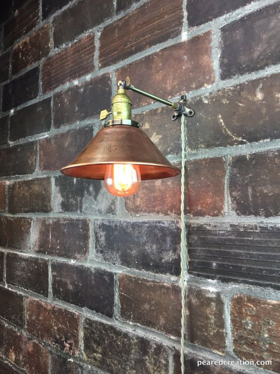 Industrial Sconce - Edison Bulb Lamp - Wall Lamp - Copper Shade - Metal Sconce - Industrial Furniture