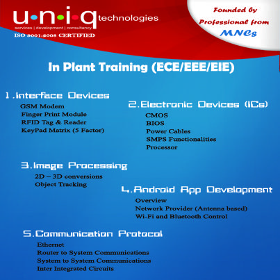 UNIQ offers best inplant training in chennai for ECE students