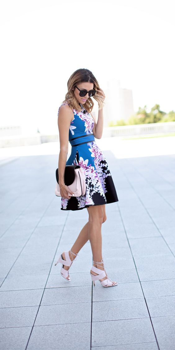 stylish wedding guest blue dresses with flowers
