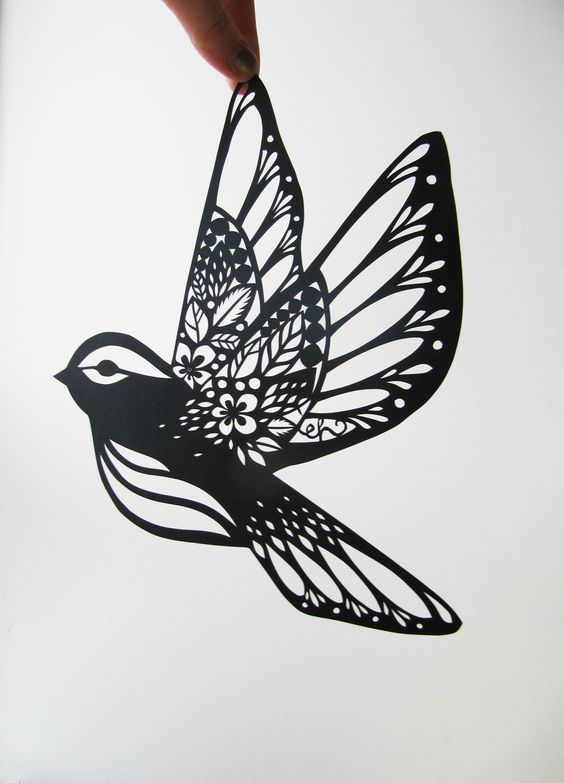 PAPERCUT BIRDS by Emily Hogarth. A collection of papercut birds with patterned bodies and wings. Created between 2009-2011.