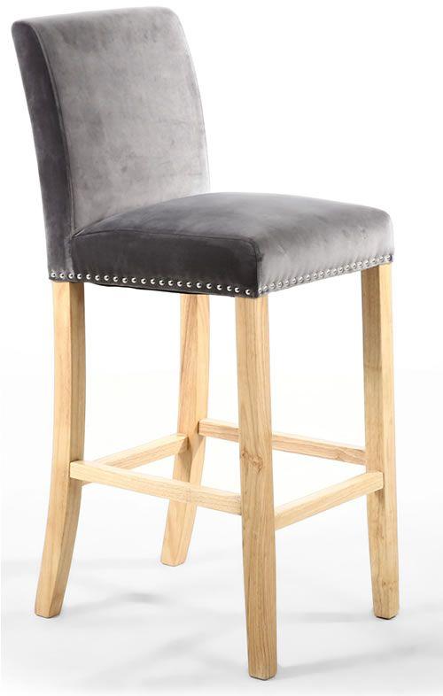 Marston Brushed Velvet Bar Chair With Square Back Fabric Bar Stool Bar Stools With Backs Padded Bar Stools