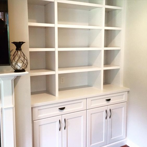 Closed Cabinets Vs Open Shelves: Close Up Of Built-in Shelves Done By Woods Cabinets LLC