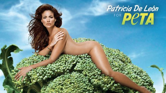 Naked woman laying on broccoli... Now that's something the audience will remember. ICS