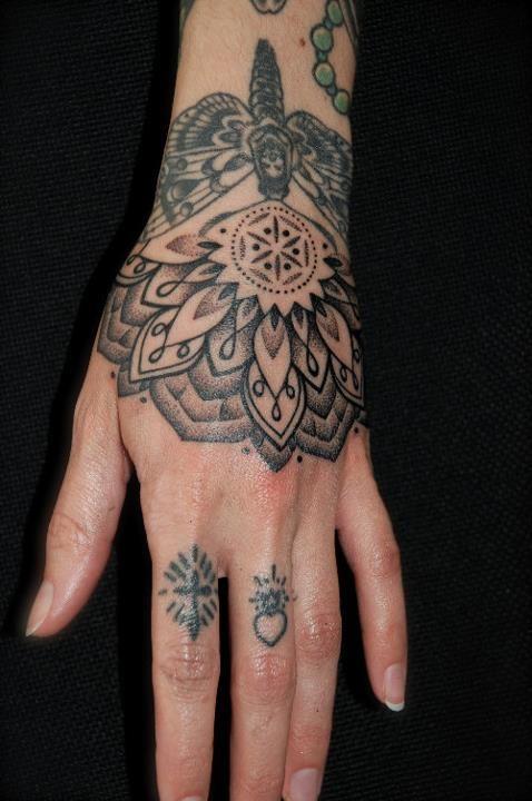 by gerhard wiesbeck #mandala #moth #blackwork #hands