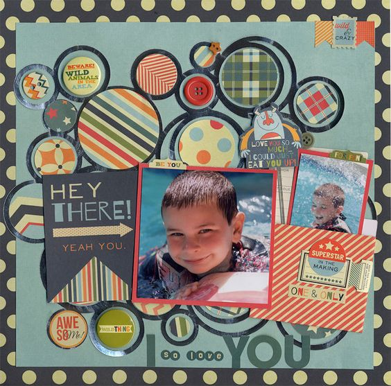 Scrapbook page, circles and 2 pictures